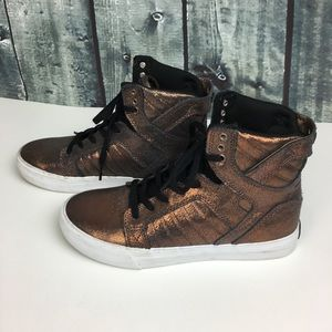 Supra Chocolate Metallic Leather Skytop Skate Shoe